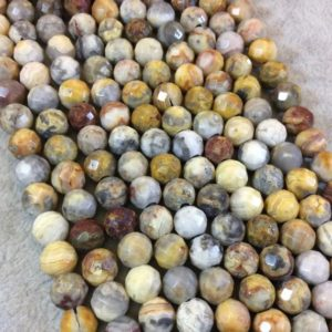 """Shop Crazy Lace Agate Beads! 8mm Natural Crazy Lace Agate Faceted Round/Ball Shaped Beads with 1mm Holes – 15.5"""" Strand 46 beads Approx 