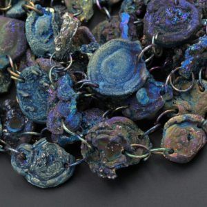 "Shop Agate Bead Shapes! Metallic Rainbow Peacock Blue Green Rose Chalcedony Druzy Galaxy Flower Drusy 2 Hole Drilled Beads Free Form Agate Druzy Geode 15.5"" Strand 