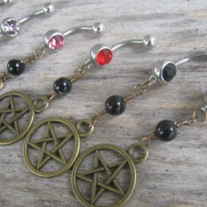 Shop Agate Rings! Pick One Pentacle Belly Ring, BRONZE Agate Belly Button Ring, Birthstone Piercing, Wicca Body Jewelry, Supernatural Pentagram Navel Ring | Natural genuine Agate rings, simple unique handcrafted gemstone rings. #rings #jewelry #shopping #gift #handmade #fashion #style #affiliate #ad