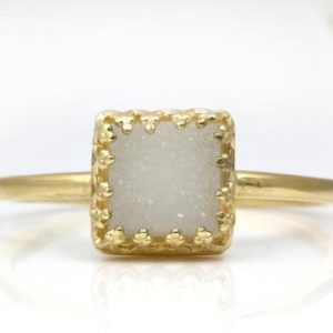 Shop Agate Rings! White druzy ring,square ring,agate druzy ring,white ring,gold ring,gold filled rings,small prong ring,stackable rings | Natural genuine Agate rings, simple unique handcrafted gemstone rings. #rings #jewelry #shopping #gift #handmade #fashion #style #affiliate #ad