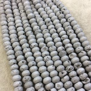 "Shop Agate Rondelle Beads! 8mm Matte Finish Premium Metallic Silver Titanium Druzy Agate Rondelle Shape Beads with 1mm Holes – Sold by 7.75"" Strands (Approx. 38 Beads) 