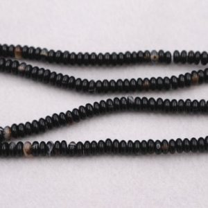 """Shop Black Agate Beads! Natural Black Agate Round Beads,4x6mm  Black agate Rondelle Beads,Striped Agate beads wholesale supply,15"""" strand 
