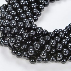 Shop Black Agate Beads! 4mm Noir Black Agate Gemstone Grade AAA Black Round Loose Beads 15.5 inch Full Strand (90114673-247) | Natural genuine beads Agate beads for beading and jewelry making.  #jewelry #beads #beadedjewelry #diyjewelry #jewelrymaking #beadstore #beading #affiliate #ad