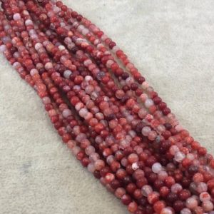 """Shop Red Agate Beads! 4mm Smooth Red Mottled Dyed Agate Round/Ball Shaped Beads with 0.8mm Holes – Sold by 14.5"""" Strands (Approx. 94 Beads) – Quality Gemstone! 