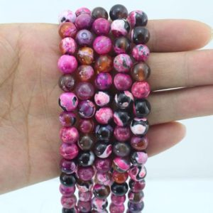 Shop Agate Round Beads! Hot Pink Agate Beads Supplies ,4 6 8 10 12 14MM Jewelry Beads ,Round Agate Beads,Gemstone Beads for DIY Jewelry Making-15inches-EB222 | Natural genuine round Agate beads for beading and jewelry making.  #jewelry #beads #beadedjewelry #diyjewelry #jewelrymaking #beadstore #beading #affiliate #ad