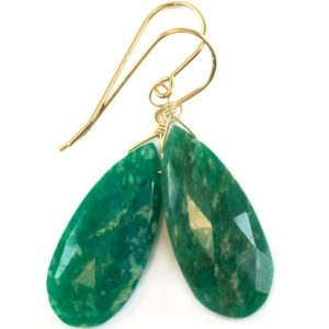 Shop Amazonite Earrings! Amazonite Earrings Dark Blue Green Faceted Teardrops Long Sterling Silver or 14k Solid Gold or Filled Natural Color Large Spyglass Designs | Natural genuine Amazonite earrings. Buy crystal jewelry, handmade handcrafted artisan jewelry for women.  Unique handmade gift ideas. #jewelry #beadedearrings #beadedjewelry #gift #shopping #handmadejewelry #fashion #style #product #earrings #affiliate #ad