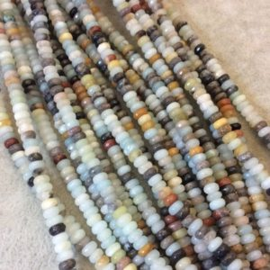 """Shop Amazonite Faceted Beads! 4mm Faceted Rondelle Shaped Multicolor Amazonite Beads – 16"""" Strand (Approximately 175 Beads) – Natural Semi-Precious Gemstone 