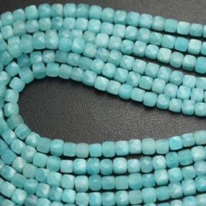 Shop Amazonite Faceted Beads! 7 Inch Strand,Finist Quality,Natural Amazonite Faceted Box Shaped Beads. 3.80-4mm | Natural genuine faceted Amazonite beads for beading and jewelry making.  #jewelry #beads #beadedjewelry #diyjewelry #jewelrymaking #beadstore #beading #affiliate #ad