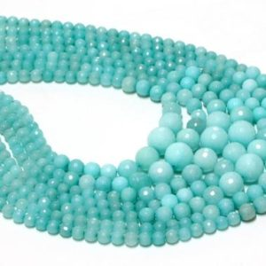 """Shop Amazonite Faceted Beads! Amazonite graduated faceted,round beads,mix lot beads,gemstone beads,loose gemstone beads – AA Quality – 16"""" Full Strand 