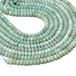 """Shop Amazonite Faceted Beads! Amazonite faceted rondelles,gemstone beads,blue beads,diy beads,jewelry making,jewelry supplies – AA Quality – 16"""" Strand 