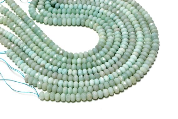 """Amazonite Faceted Rondelles,gemstone Beads,blue Beads,diy Beads,jewelry Making,jewelry Supplies - Aa Quality - 16"""" Strand"""