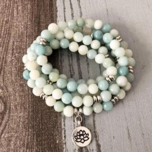 Shop Amazonite Necklaces! 108 Mala Beads Prayer Necklace-Natural Amazonite Stone Healing Meditation Spiritual Protection Grounding Necklace-Stress Anxiety Relief Gift | Natural genuine Amazonite necklaces. Buy crystal jewelry, handmade handcrafted artisan jewelry for women.  Unique handmade gift ideas. #jewelry #beadednecklaces #beadedjewelry #gift #shopping #handmadejewelry #fashion #style #product #necklaces #affiliate #ad