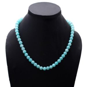 Shop Amazonite Necklaces! AAA++ Quality AMAZONITE Beaded Necklace, 7-7.5mm Amazonite Smooth Round Beads Necklace,175 Cts. Handmade Beaded Silver Necklace,Gift For Her | Natural genuine Amazonite necklaces. Buy crystal jewelry, handmade handcrafted artisan jewelry for women.  Unique handmade gift ideas. #jewelry #beadednecklaces #beadedjewelry #gift #shopping #handmadejewelry #fashion #style #product #necklaces #affiliate #ad