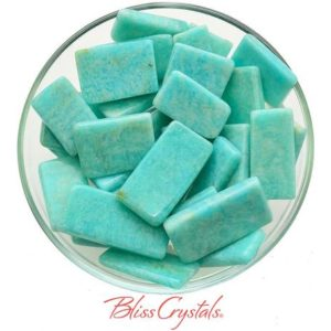 Shop Tumbled Amazonite Crystals & Pocket Stones! 1 Teal AMAZONITE Polished Flat Rectangle Wand Stick Tumbled Green Healing Crystal and Stone Communication Calming #AM27 | Natural genuine stones & crystals in various shapes & sizes. Buy raw cut, tumbled, or polished gemstones for making jewelry or crystal healing energy vibration raising reiki stones. #crystals #gemstones #crystalhealing #crystalsandgemstones #energyhealing #affiliate #ad