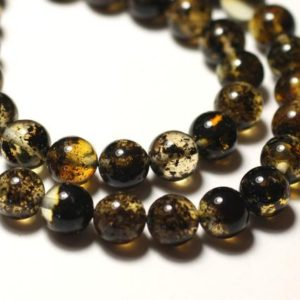 Shop Amber Bead Shapes! Wire 40cm approx – beads amber natural green black balls 5 mm 80pc | Natural genuine other-shape Amber beads for beading and jewelry making.  #jewelry #beads #beadedjewelry #diyjewelry #jewelrymaking #beadstore #beading #affiliate #ad