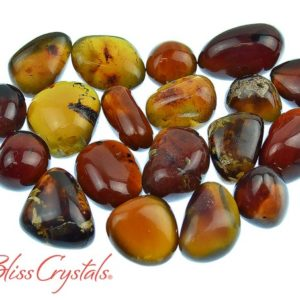 Shop Amber Stones & Crystals! 1 Brown + Blue AMBER Tumbled Stone, Bio Crystal #BA23 | Natural genuine stones & crystals in various shapes & sizes. Buy raw cut, tumbled, or polished gemstones for making jewelry or crystal healing energy vibration raising reiki stones. #crystals #gemstones #crystalhealing #crystalsandgemstones #energyhealing #affiliate #ad