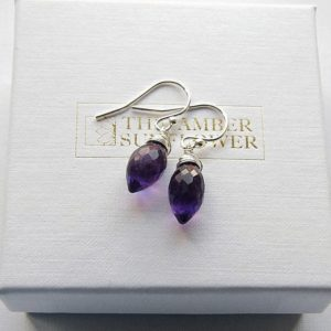 Shop Amethyst Earrings! Deep purple amethyst earrings February birthday gift small purple earrings grape amethyst silver earrings purple gemstone jewellery | Natural genuine Amethyst earrings. Buy crystal jewelry, handmade handcrafted artisan jewelry for women.  Unique handmade gift ideas. #jewelry #beadedearrings #beadedjewelry #gift #shopping #handmadejewelry #fashion #style #product #earrings #affiliate #ad