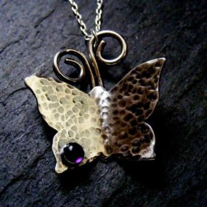 Shop Amethyst Necklaces! Silver Butterfly hammered Necklace with Amethyst Rustic Butterfly | Natural genuine Amethyst necklaces. Buy crystal jewelry, handmade handcrafted artisan jewelry for women.  Unique handmade gift ideas. #jewelry #beadednecklaces #beadedjewelry #gift #shopping #handmadejewelry #fashion #style #product #necklaces #affiliate #ad