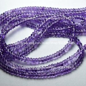 Shop Amethyst Rondelle Beads! 18 Inches strand,Finest Quality,Natural Purple Amethyst Smooth Rondelles,Size 4.5-5mm | Natural genuine rondelle Amethyst beads for beading and jewelry making.  #jewelry #beads #beadedjewelry #diyjewelry #jewelrymaking #beadstore #beading #affiliate #ad