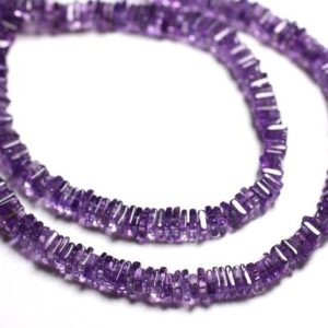 Shop Amethyst Rondelle Beads! Wire 39cm 300pc env – stone beads – Amethyst squares 4-5mm Heishi Rondelles | Natural genuine rondelle Amethyst beads for beading and jewelry making.  #jewelry #beads #beadedjewelry #diyjewelry #jewelrymaking #beadstore #beading #affiliate #ad