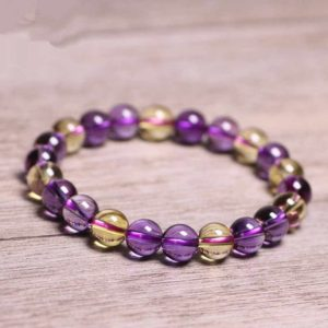 Natural Ametrine Citrine Amethyst Crystal Healing Bracelet-Grounding Meditation Balancing Calm Bracelet-Anxiety Stress Relief Bracelet Gift | Natural genuine Gemstone bracelets. Buy crystal jewelry, handmade handcrafted artisan jewelry for women.  Unique handmade gift ideas. #jewelry #beadedbracelets #beadedjewelry #gift #shopping #handmadejewelry #fashion #style #product #bracelets #affiliate #ad