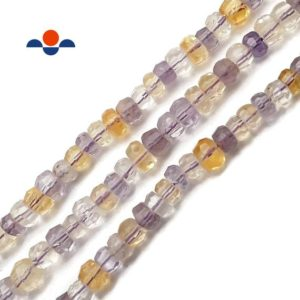 """Natural Ametrine Faceted Rondelle Beads Approx 5x8mm 15.5"""" Strand 