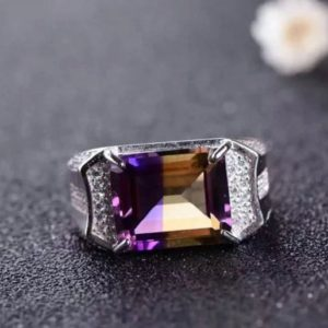 Shop Ametrine Rings! Ametrine Men's Ring,Natural Ametrine Ring, 925 Sterling Silver Ring,women gift ring,men's Gift jewlery,Gift For dad,Birthday gift | Natural genuine Ametrine rings, simple unique handcrafted gemstone rings. #rings #jewelry #shopping #gift #handmade #fashion #style #affiliate #ad