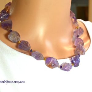 Shop Ametrine Necklaces! Ametrine Necklace/Ametrine, Amethyst & Gold Necklace/Gemstone Necklace/Natural Stone Necklace/Purple Gemstone Necklace/Chunky Necklace | Natural genuine Ametrine necklaces. Buy crystal jewelry, handmade handcrafted artisan jewelry for women.  Unique handmade gift ideas. #jewelry #beadednecklaces #beadedjewelry #gift #shopping #handmadejewelry #fashion #style #product #necklaces #affiliate #ad
