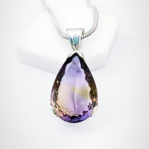 Shop Ametrine Pendants! Ametrine Faceted Pendant, 925 Sterling Silver, Purple Crystal Stone, Ametrine Pendent Necklac Anniversary Gift, Gift for her. Free Shipping.   Natural genuine Ametrine pendants. Buy crystal jewelry, handmade handcrafted artisan jewelry for women.  Unique handmade gift ideas. #jewelry #beadedpendants #beadedjewelry #gift #shopping #handmadejewelry #fashion #style #product #pendants #affiliate #ad