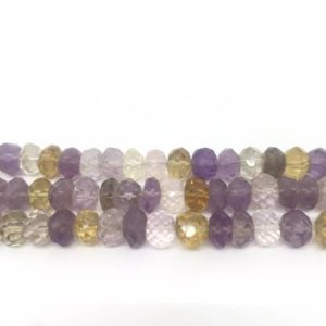 Shop Ametrine Rondelle Beads! Ametrine Rondelle Faceted Beads, Natural Ametrine Faceted Beads,Ametrine Necklace,Ametrine Strand,Ametrine Rondelle Beads,9 Inch strand,5X7 | Natural genuine rondelle Ametrine beads for beading and jewelry making.  #jewelry #beads #beadedjewelry #diyjewelry #jewelrymaking #beadstore #beading #affiliate #ad