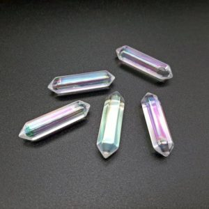 Angel Aura Quartz, Double Terminated Quartz, Clear AB Crystal Points, Natural Crystal Wand, Iridescent Crystal | Natural genuine stones & crystals in various shapes & sizes. Buy raw cut, tumbled, or polished gemstones for making jewelry or crystal healing energy vibration raising reiki stones. #crystals #gemstones #crystalhealing #crystalsandgemstones #energyhealing #affiliate #ad