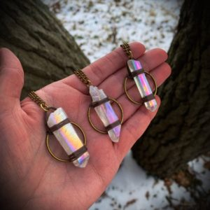 Shop Angel Aura Quartz Necklaces! Angel Aura Quartz Necklace | Natural genuine Angel Aura Quartz necklaces. Buy crystal jewelry, handmade handcrafted artisan jewelry for women.  Unique handmade gift ideas. #jewelry #beadednecklaces #beadedjewelry #gift #shopping #handmadejewelry #fashion #style #product #necklaces #affiliate #ad
