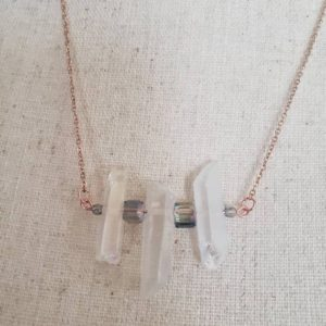 Shop Angel Aura Quartz Necklaces! Angel Aura Quartz Necklace, Birthday Gift, Rose Gold Necklace, Raw Crystal Necklace, Rainbow Necklace, Maid of Honor Gift | Natural genuine Angel Aura Quartz necklaces. Buy crystal jewelry, handmade handcrafted artisan jewelry for women.  Unique handmade gift ideas. #jewelry #beadednecklaces #beadedjewelry #gift #shopping #handmadejewelry #fashion #style #product #necklaces #affiliate #ad