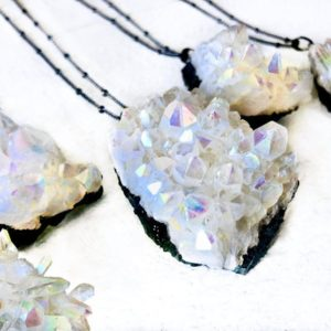 Shop Angel Aura Quartz Necklaces! Angel Aura Quartz Necklace Healing crystal jewelry Raw quartz necklaces Opal crystal necklace White geode cluster necklace Gunmetal crystal | Natural genuine Angel Aura Quartz necklaces. Buy crystal jewelry, handmade handcrafted artisan jewelry for women.  Unique handmade gift ideas. #jewelry #beadednecklaces #beadedjewelry #gift #shopping #handmadejewelry #fashion #style #product #necklaces #affiliate #ad