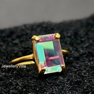 Angel Aura Quartz Ring, Beautiful Cushion Cut Aura Quartz Gemstone, 925 Solid Sterling Silver Ring, Women Ring, Gift Ring, Yellow Gold Fill | Natural genuine Gemstone rings, simple unique handcrafted gemstone rings. #rings #jewelry #shopping #gift #handmade #fashion #style #affiliate #ad