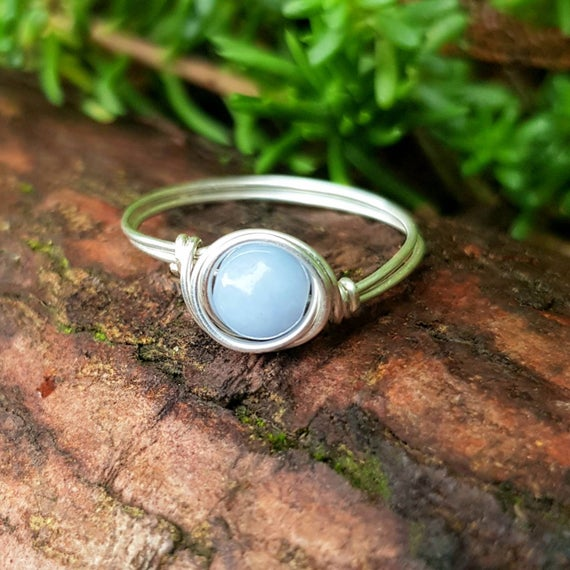 Angelic Healing Crystal, Angelite Ring, 925 Sterling Silver, Guardian Angel, Protection Ring, Crystal Ring, Minimal, Gift For Her, Daughter