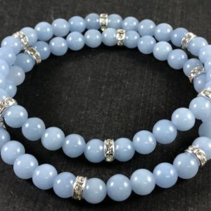 Shop Angelite Bracelets! Angelite Bracelet , Bling Bracelet Set , Healing Crystal Bracelet Set , Blue Gemstone Beaded Bracelet Set , Angelite Beaded Bracelet | Natural genuine Angelite bracelets. Buy crystal jewelry, handmade handcrafted artisan jewelry for women.  Unique handmade gift ideas. #jewelry #beadedbracelets #beadedjewelry #gift #shopping #handmadejewelry #fashion #style #product #bracelets #affiliate #ad