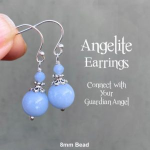 Shop Angelite Earrings! Angelite Earrings, Connect With Your Guardian Angel, Sterling Silver Shepherd Hook or Lever Back Protection Earrings, Throat Chakra | Natural genuine Angelite earrings. Buy crystal jewelry, handmade handcrafted artisan jewelry for women.  Unique handmade gift ideas. #jewelry #beadedearrings #beadedjewelry #gift #shopping #handmadejewelry #fashion #style #product #earrings #affiliate #ad