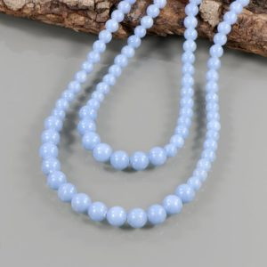 Shop Angelite Necklaces! Blue Angelite Gemstone Necklace Angelite Gemstone Jewelry Round Shape Stone Beads Necklace Handmade Gemstone Necklace 2 Line Strand Necklace | Natural genuine Angelite necklaces. Buy crystal jewelry, handmade handcrafted artisan jewelry for women.  Unique handmade gift ideas. #jewelry #beadednecklaces #beadedjewelry #gift #shopping #handmadejewelry #fashion #style #product #necklaces #affiliate #ad