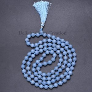 ON SALE Natural ANGELITE 108 Beads Mala Necklace, 8mm Angelite Beads, Hand knotted Beads Tassel Necklace, Meditation Mala,Wrap Mala Necklace | Natural genuine Gemstone necklaces. Buy crystal jewelry, handmade handcrafted artisan jewelry for women.  Unique handmade gift ideas. #jewelry #beadednecklaces #beadedjewelry #gift #shopping #handmadejewelry #fashion #style #product #necklaces #affiliate #ad