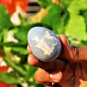 Large 55MM Natural Aqua Angelite Stone Crystals Meditation Metaphysical Healing Power Egg | Natural genuine stones & crystals in various shapes & sizes. Buy raw cut, tumbled, or polished gemstones for making jewelry or crystal healing energy vibration raising reiki stones. #crystals #gemstones #crystalhealing #crystalsandgemstones #energyhealing #affiliate #ad