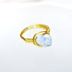 Shop Angelite Rings! Angelite Wrapped Wire Ring | Natural genuine Angelite rings, simple unique handcrafted gemstone rings. #rings #jewelry #shopping #gift #handmade #fashion #style #affiliate #ad