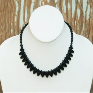 Shop Jet Necklaces! Antique Victorian Whitby Jet Mourning Collar Ribbon Necklace Mourning Necklace Onyx Black 3 Dimensional Choker   Natural genuine Jet necklaces. Buy crystal jewelry, handmade handcrafted artisan jewelry for women.  Unique handmade gift ideas. #jewelry #beadednecklaces #beadedjewelry #gift #shopping #handmadejewelry #fashion #style #product #necklaces #affiliate #ad