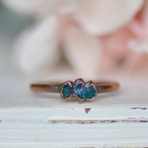 Shop Apatite Rings! Raw Apatite Ring, Multi Stone Ring, Electroformed Jewelry, Birthstone Jewelry, Stacking Ring, Unique Gift for Her, Boho Bridesmaid Gifts   Natural genuine Apatite rings, simple unique handcrafted gemstone rings. #rings #jewelry #shopping #gift #handmade #fashion #style #affiliate #ad