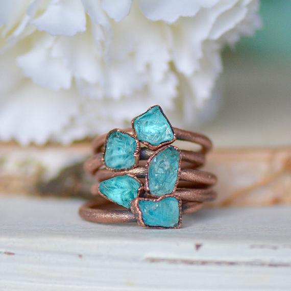 Raw Apatite Ring, Stacking Ring, Raw Stone Jewelry, Gift For Her, Birthstone Ring, Electroformed Jewelry, Boho Bride, Copper Gemstone Ring