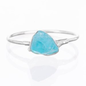 Sterling Silver Raw Apatite Ring, Petite Ring, Crystal Ring, Pink Stackable Gemstone Ring, Raw Stacking Ring, Raw Blue Ring, Rough Apatite | Natural genuine Apatite rings, simple unique handcrafted gemstone rings. #rings #jewelry #shopping #gift #handmade #fashion #style #affiliate #ad