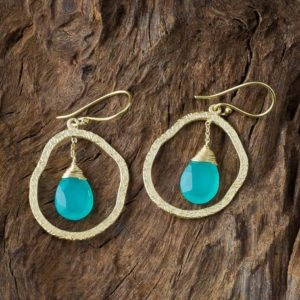 Shop Calcite Earrings! Aqua Calcite Earrings/Gold Hoop With Gemstone/Dangle Blue Earrings/Statement Boho Earrings/Handmade Jewelry/Chic Gold Earrings/Gift for Her | Natural genuine Calcite earrings. Buy crystal jewelry, handmade handcrafted artisan jewelry for women.  Unique handmade gift ideas. #jewelry #beadedearrings #beadedjewelry #gift #shopping #handmadejewelry #fashion #style #product #earrings #affiliate #ad
