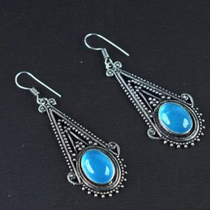 Shop Aquamarine Earrings! Hydro Aquamarine Earring | Gemstone Earring | Brass Earring | Earring For Her | Earring For Women | Silver Oxidize Earring  [GFS3120] | Natural genuine Aquamarine earrings. Buy crystal jewelry, handmade handcrafted artisan jewelry for women.  Unique handmade gift ideas. #jewelry #beadedearrings #beadedjewelry #gift #shopping #handmadejewelry #fashion #style #product #earrings #affiliate #ad