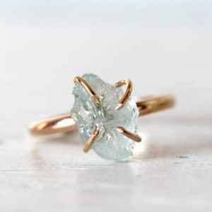Shop Aquamarine Rings! Raw Aquamarine Ring – March Birthstone Ring – Gold Filled Crystal Ring – Raw Crystal Ring   Natural genuine Aquamarine rings, simple unique handcrafted gemstone rings. #rings #jewelry #shopping #gift #handmade #fashion #style #affiliate #ad