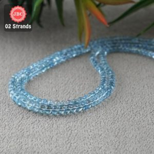Shop Aquamarine Rondelle Beads! Natural Aquamarine 3.5-6.5mm Smooth Rondelle Shape Gemstone Beads / Approx 280 Pieces on 2 Strands of 16 Inch Length / JBC-ET-156754 | Natural genuine rondelle Aquamarine beads for beading and jewelry making.  #jewelry #beads #beadedjewelry #diyjewelry #jewelrymaking #beadstore #beading #affiliate #ad